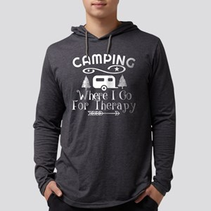 Camping Therapy Mens Hooded Shirt