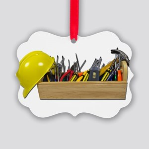 HardHatLongWoodenToolbox091711.pn Picture Ornament