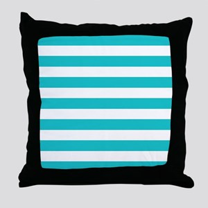 Turquoise and white horizontal stripes Throw Pillo