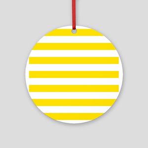 Yellow and white horizontal stripes Ornament (Roun