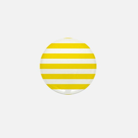 Yellow and white horizontal stripes Mini Button