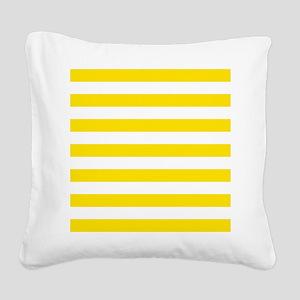 Yellow and white horizontal stripes Square Canvas
