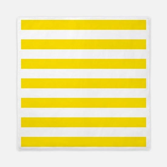 Yellow and white horizontal stripes Queen Duvet