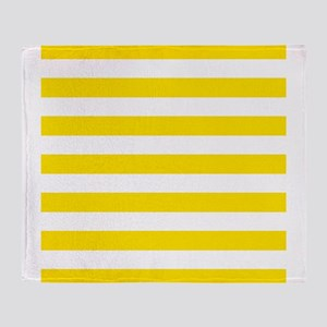 Yellow and white horizontal stripes Throw Blanket