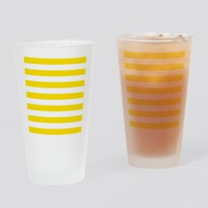 Yellow and white horizontal stripes Drinking Glass