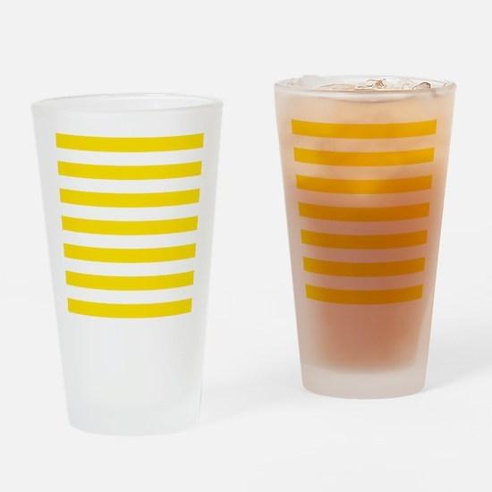 Yellow and white horizontal stripes Drinking Glass