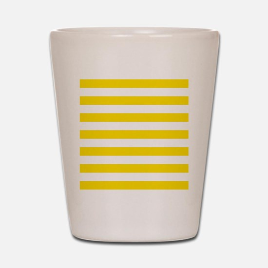 Yellow and white horizontal stripes Shot Glass