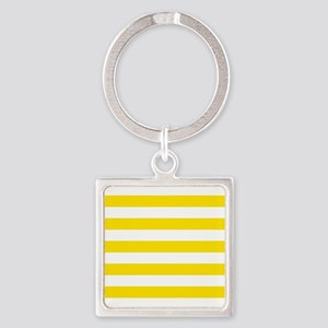 Yellow and white horizontal stripes Keychains
