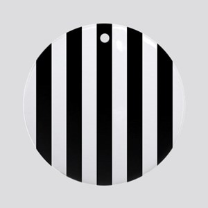 Black and white vertical stripes Ornament (Round)