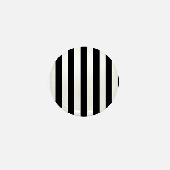 Black and white vertical stripes Mini Button