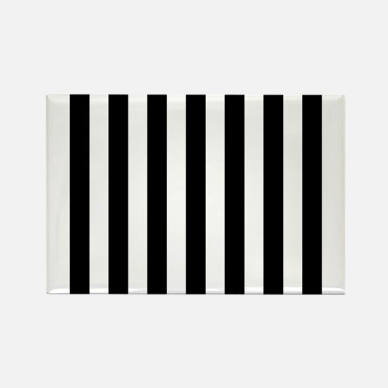 Black and white vertical stripes Rectangle Magnet