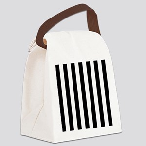 Black and white vertical stripes Canvas Lunch Bag