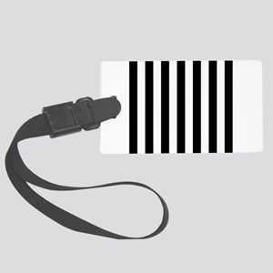 Black and white vertical stripes Large Luggage Tag