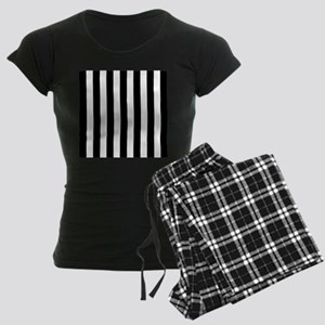 Black and white vertical stripes pajamas