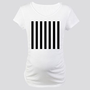 Black and white vertical stripes Maternity T-Shirt
