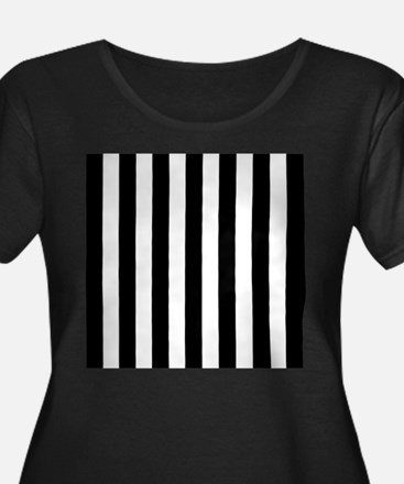 Black and white vertical stripes Plus Size T-Shirt