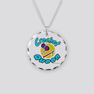 Crochet Queen Necklace Circle Charm