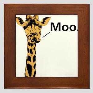 Giraffe Moo Funny Framed Tile