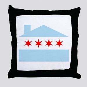 Chicago House Flag Throw Pillow