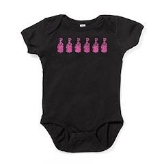 Row Of Pink Marie Antoinettes Baby Bodysuit