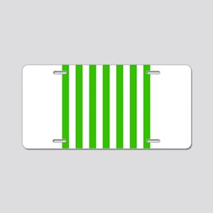 Green and white vertical stripes Aluminum License