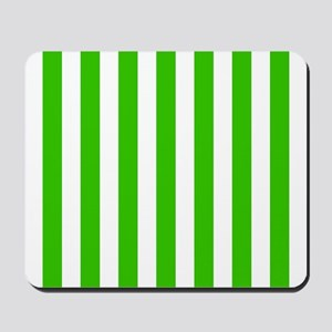 Green and white vertical stripes Mousepad