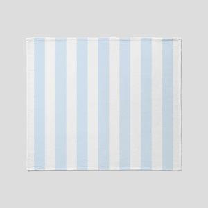 Light Blue and white vertical stripes Throw Blanke