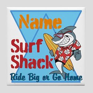 Custom surf shack Tile Coaster