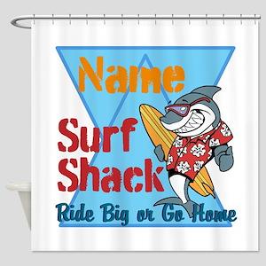 Custom surf shack Shower Curtain