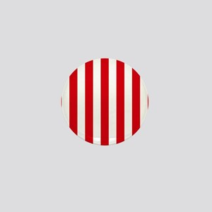 Red and white vertical stripes Mini Button