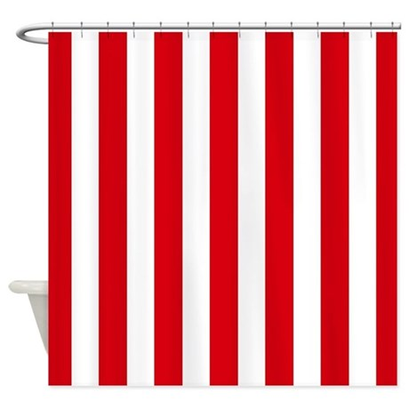 Red And White Vertical Stripes Shower Curtain By