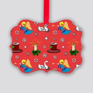 Christmas, Swans, Angels Picture Ornament