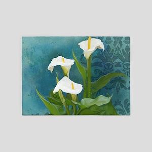 Calla Lilies Floral Damask Bold Mod 5'x7'Area Rug