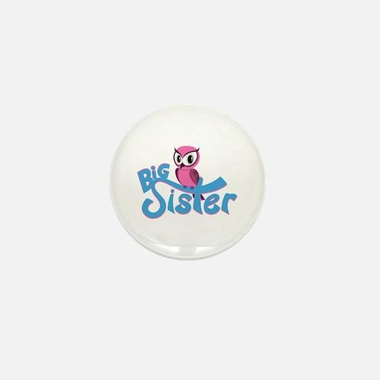 So Girly Owl Big Sister Mini Button