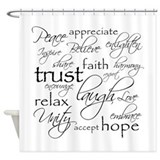 Faith hope love gray Shower Curtains