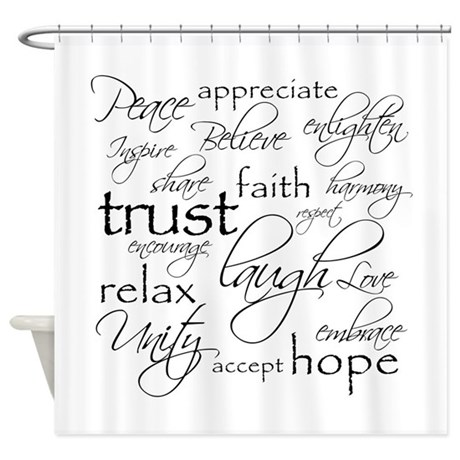 Positive Words   Shower Curtain