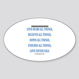 LOVE NEVER FAILS Sticker (Oval)
