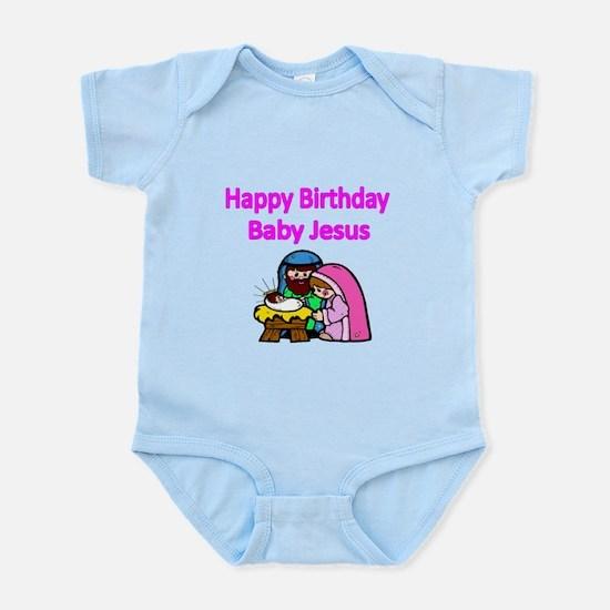Happy Birthday Baby Jesus-pink Body Suit