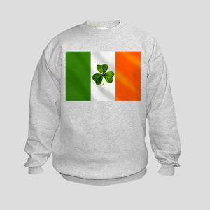Irish Shamrock Flag Kids Sweatshirt