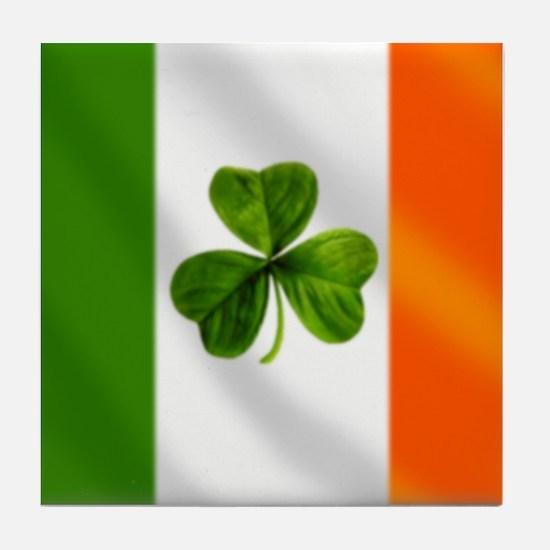 Irish Shamrock Flag Tile Coaster