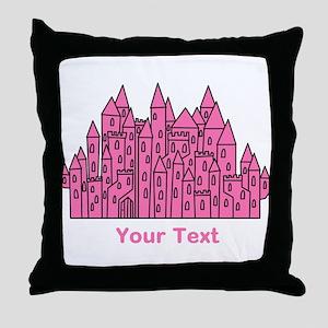 Dark Pink Castle, Custom Text. Throw Pillow