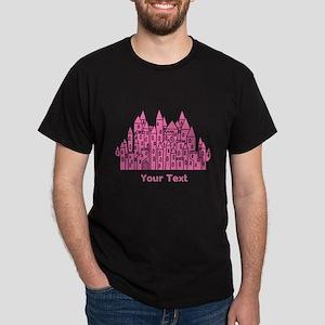 Dark Pink Castle, Custom Text. T-Shirt
