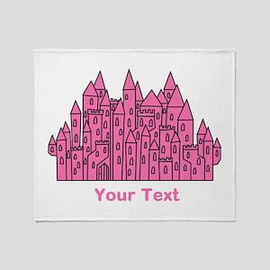 Dark Pink Castle, Custom Text. Throw Blanket