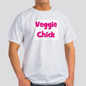 Veggie Chick Pink Ash Grey T-Shirt