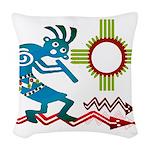Kokopelli in the Sun Woven Throw Pillow