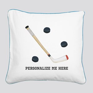 Personalized Hockey Square Canvas Pillow
