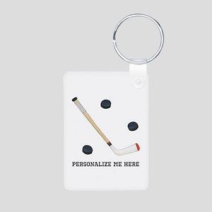 Personalized Hockey Aluminum Photo Keychain