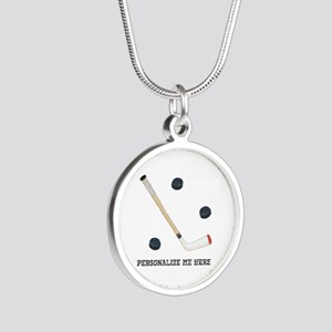 Personalized Hockey Silver Round Necklace