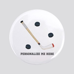 """Personalized Hockey 3.5"""" Button"""