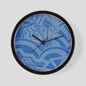 Blue Art Deco Style Pattern. Wall Clock